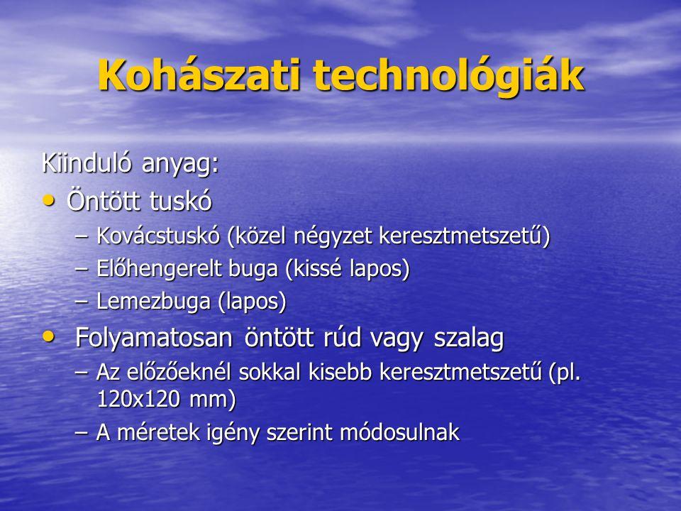 Kohászati technológiák Kiinduló anyag: Öntött tuskó Öntött tuskó –Kovácstuskó (közel négyzet keresztmetszetű) –Előhengerelt buga (kissé lapos) –Lemezb