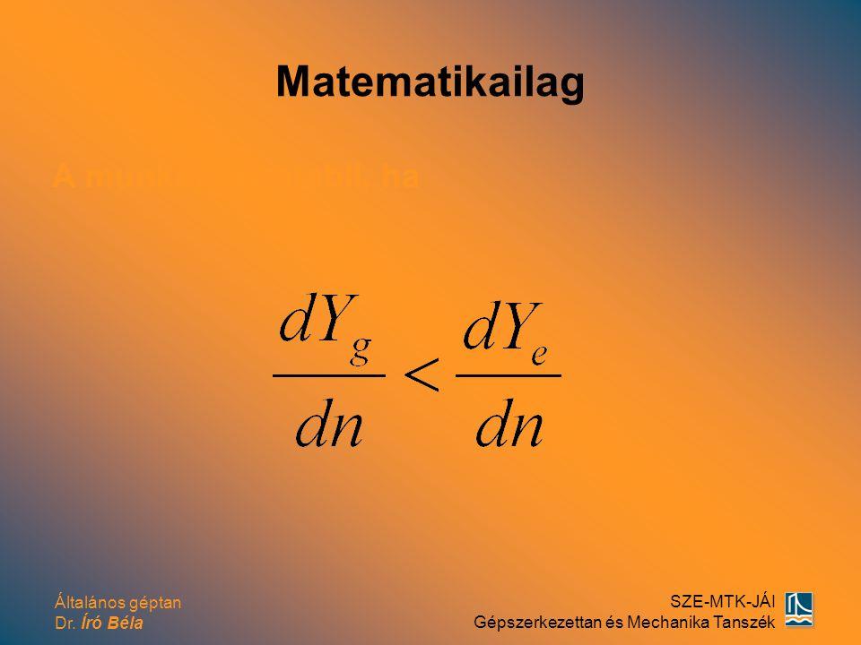 Általános géptan Dr. Író Béla SZE-MTK-JÁI Gépszerkezettan és Mechanika Tanszék Matematikailag A munkapont stabil, ha