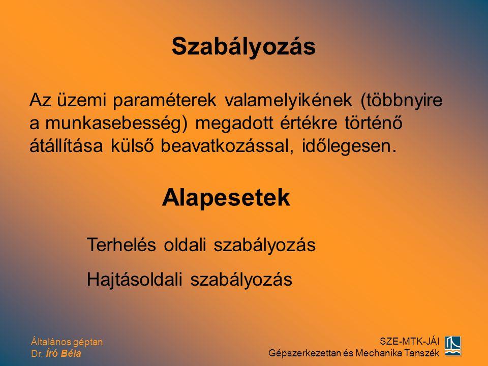 Általános géptan Dr. Író Béla SZE-MTK-JÁI Gépszerkezettan és Mechanika Tanszék Szabályozás Az üzemi paraméterek valamelyikének (többnyire a munkasebes