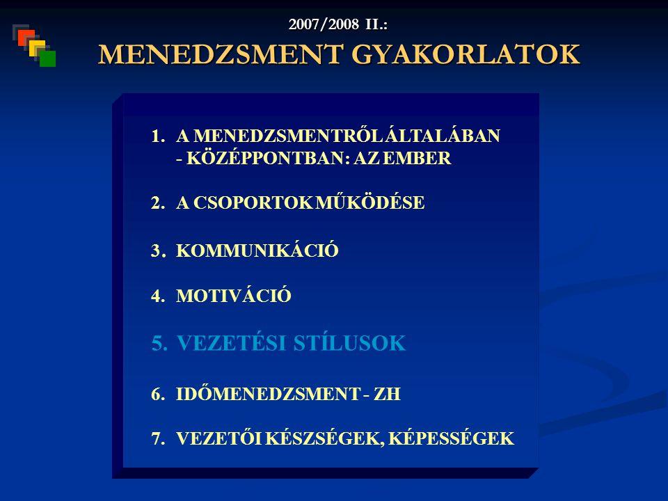 2007/2008 II.: MENEDZSMENT GYAKORLATOK 1.A MENEDZSMENTRŐL ÁLTALÁBAN - KÖZÉPPONTBAN: AZ EMBER 2.A CSOPORTOK MŰKÖDÉSE 3.