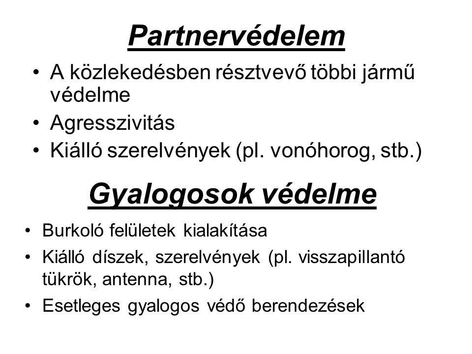 Partnervédelem A közlekedésben résztvevő többi jármű védelme Agresszivitás Kiálló szerelvények (pl. vonóhorog, stb.) Gyalogosok védelme Burkoló felüle