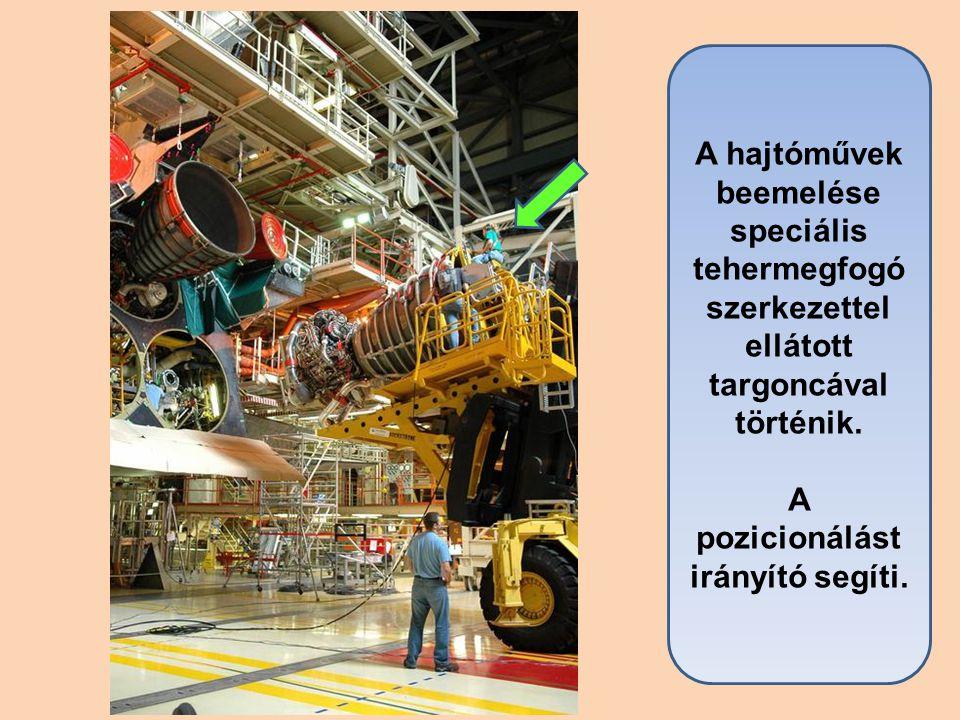 A hajtóművek beemelése speciális tehermegfogó szerkezettel ellátott targoncával történik. A pozicionálást irányító segíti.