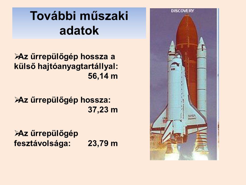 További műszaki adatok  Az űrrepülőgép hossza a külső hajtóanyagtartállyal: 56,14 m  Az űrrepülőgép hossza: 37,23 m  Az űrrepülőgép fesztávolsága: