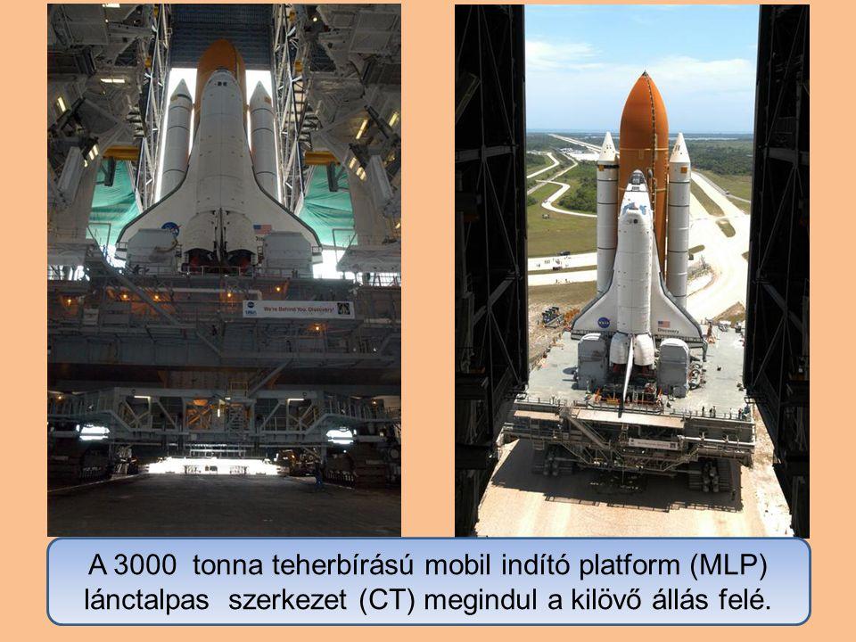 A 3000 tonna teherbírású mobil indító platform (MLP) lánctalpas szerkezet (CT) megindul a kilövő állás felé.