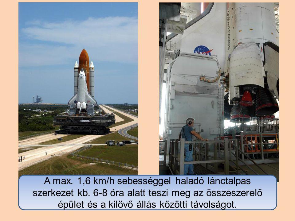 A max. 1,6 km/h sebességgel haladó lánctalpas szerkezet kb.