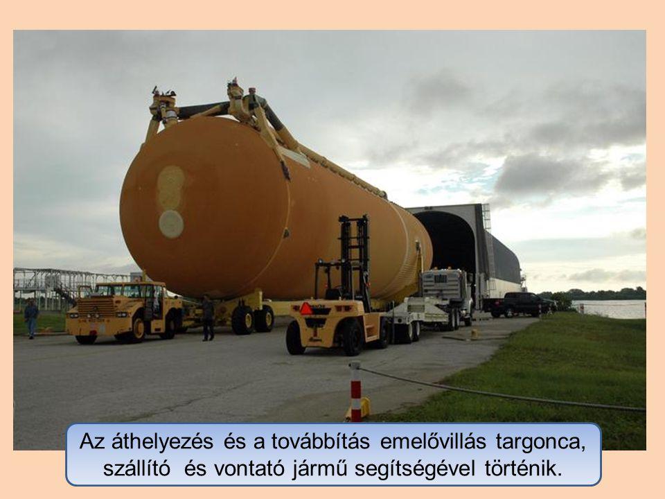 Az áthelyezés és a továbbítás emelővillás targonca, szállító és vontató jármű segítségével történik.