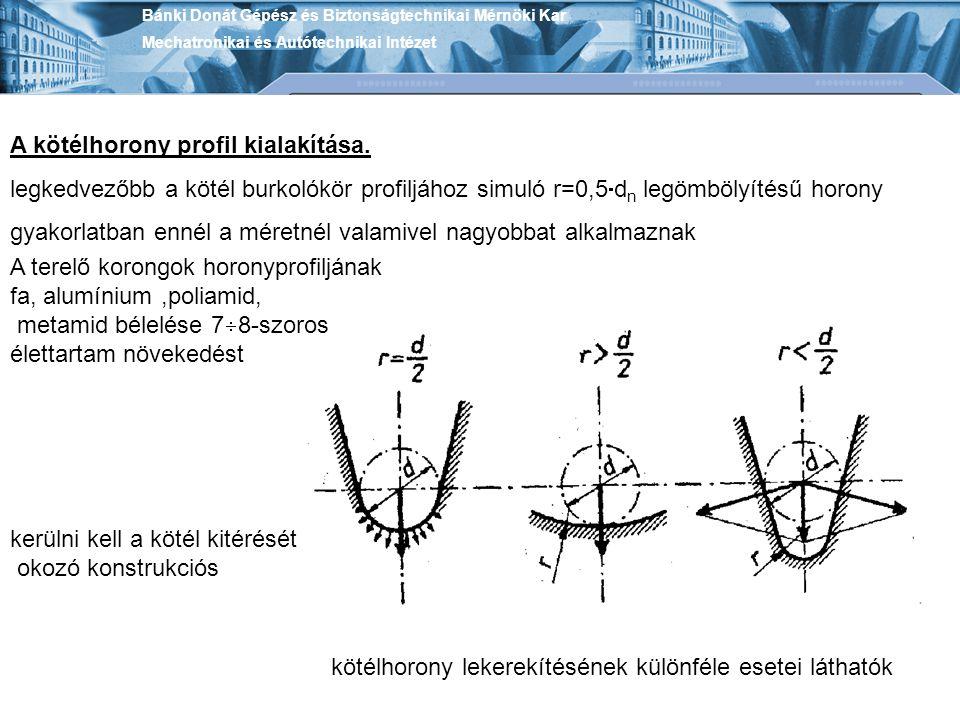 Bánki Donát Gépész és Biztonságtechnikai Mérnöki Kar Mechatronikai és Autótechnikai Intézet A kötélhorony profil kialakítása. legkedvezőbb a kötél bur