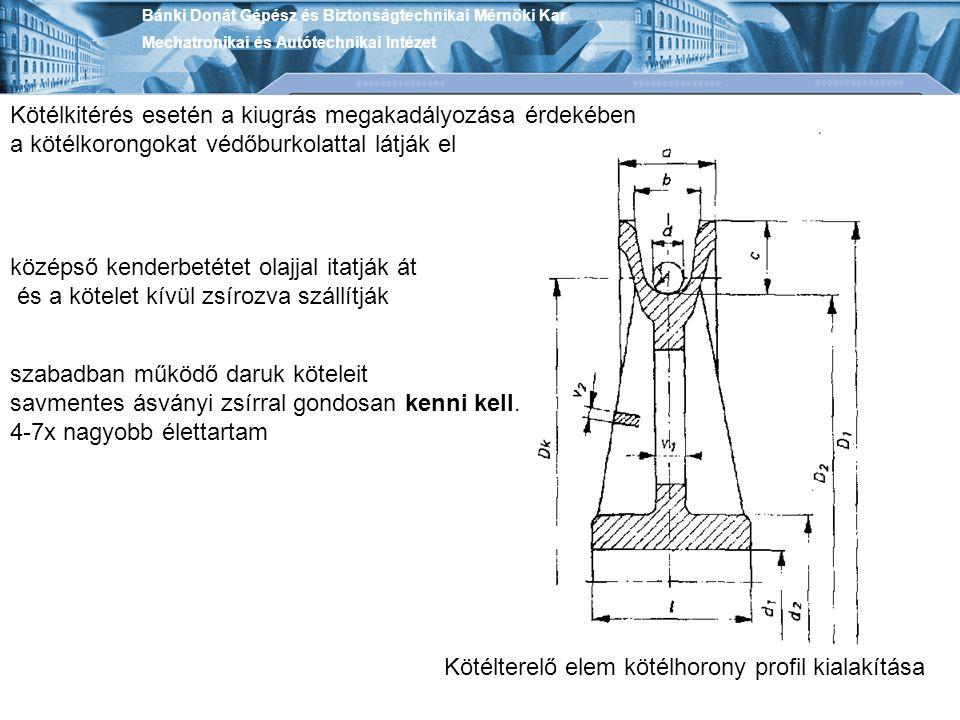 Bánki Donát Gépész és Biztonságtechnikai Mérnöki Kar Mechatronikai és Autótechnikai Intézet Kötélterelő elem kötélhorony profil kialakítása Kötélkitér