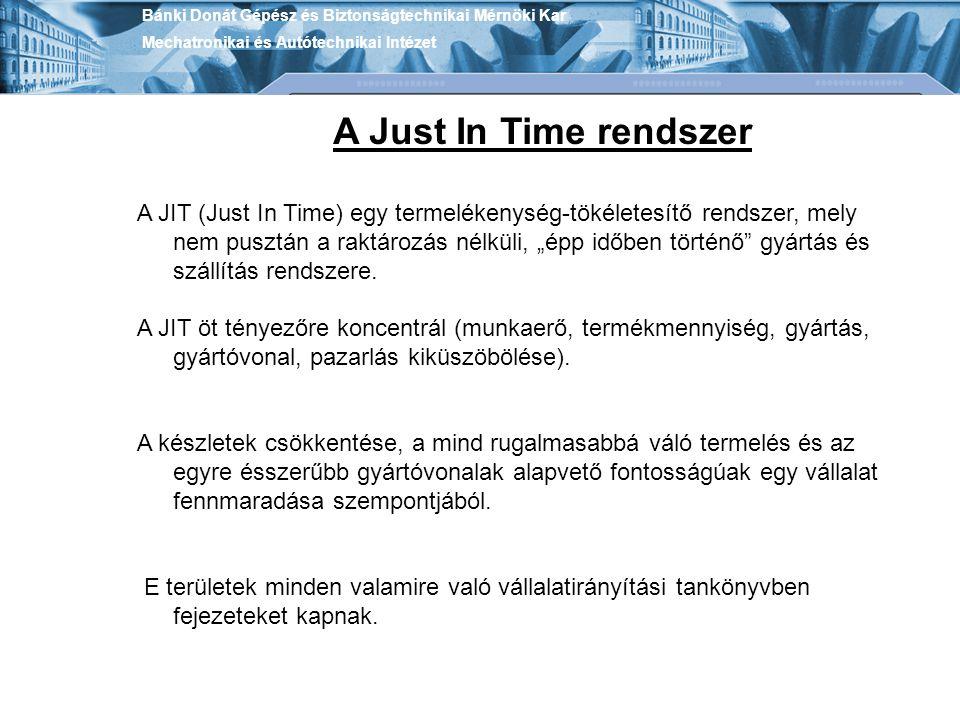 Bánki Donát Gépész és Biztonságtechnikai Mérnöki Kar Mechatronikai és Autótechnikai Intézet A Just In Time rendszer A JIT (Just In Time) egy termeléke