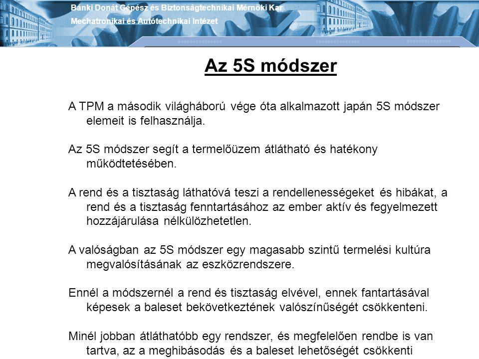 Bánki Donát Gépész és Biztonságtechnikai Mérnöki Kar Mechatronikai és Autótechnikai Intézet Az 5S módszer A TPM a második világháború vége óta alkalma