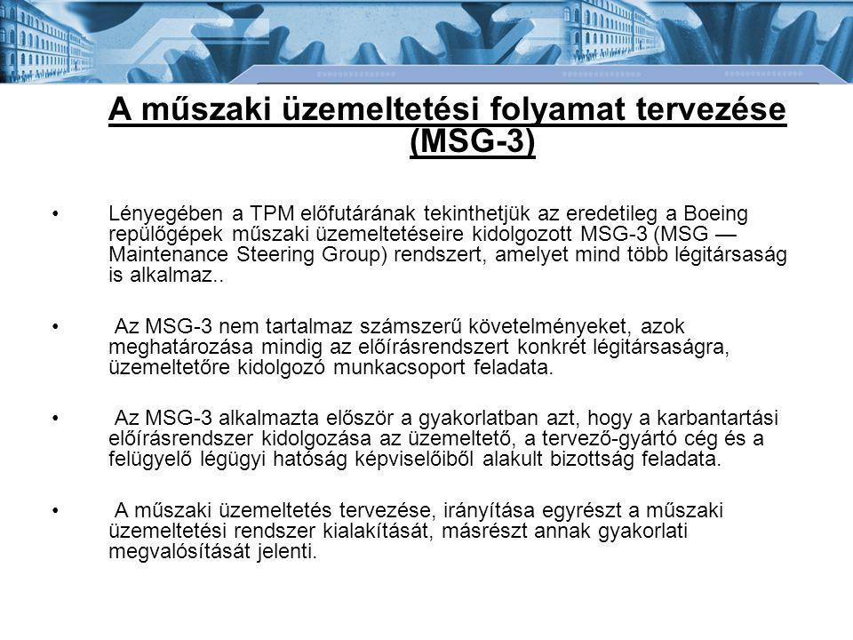 A műszaki üzemeltetési folyamat tervezése (MSG-3) Lényegében a TPM előfutárának tekinthetjük az eredetileg a Boeing repülőgépek műszaki üzemeltetéseir