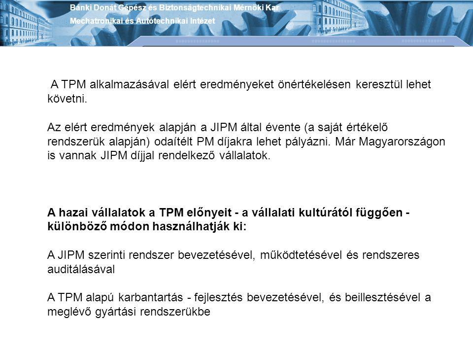 Bánki Donát Gépész és Biztonságtechnikai Mérnöki Kar Mechatronikai és Autótechnikai Intézet A TPM alkalmazásával elért eredményeket önértékelésen kere