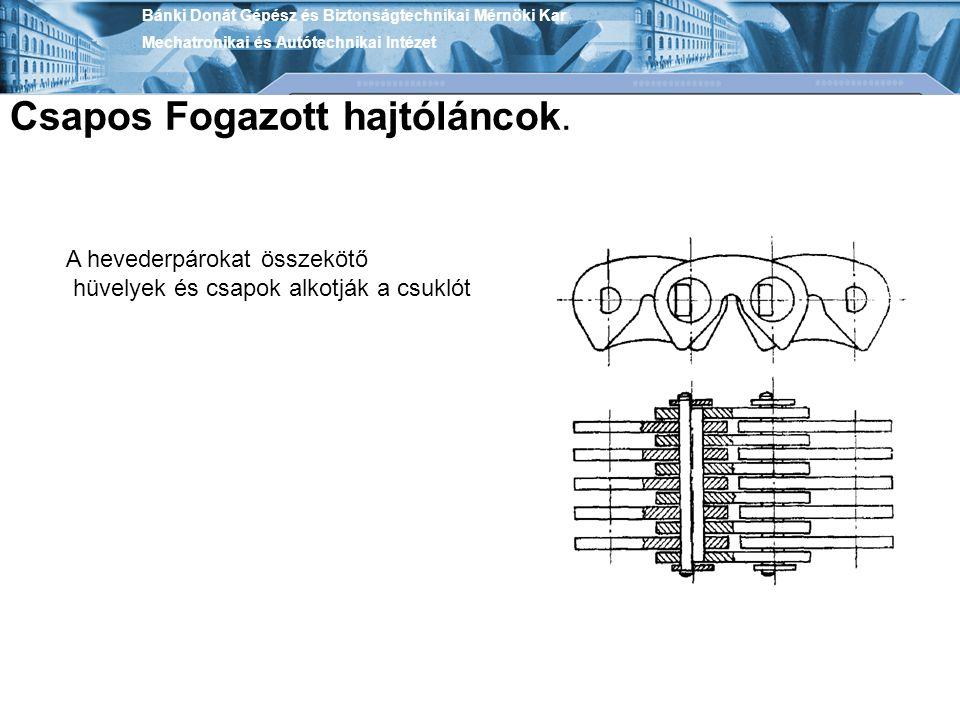 Bánki Donát Gépész és Biztonságtechnikai Mérnöki Kar Mechatronikai és Autótechnikai Intézet Csapos Fogazott hajtóláncok. A hevederpárokat összekötő hü