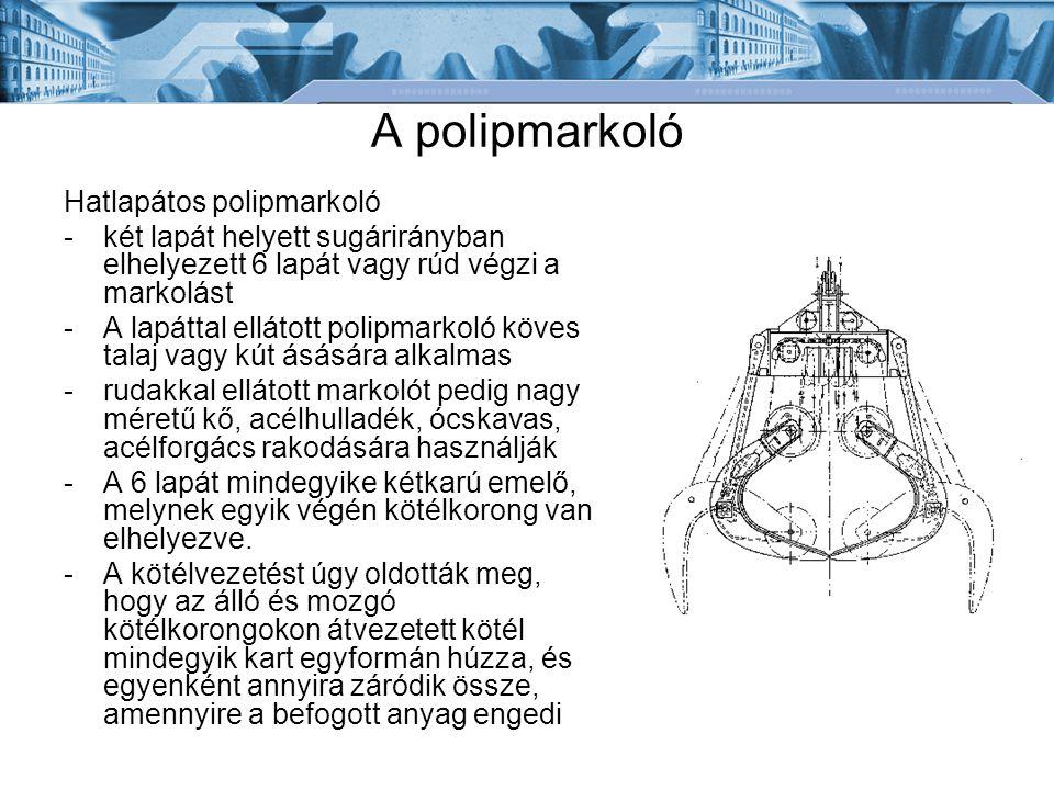 A polipmarkoló Hatlapátos polipmarkoló -két lapát helyett sugárirányban elhelyezett 6 lapát vagy rúd végzi a markolást -A lapáttal ellátott polipmarko