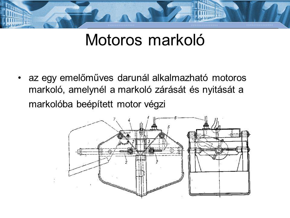 Motoros markoló az egy emelőműves darunál alkalmazható motoros markoló, amelynél a markoló zárását és nyitását a markolóba beépített motor végzi