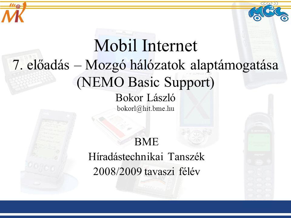 2009.03.06 Mobil Internet előadás BME-HIT 2 Kivonat Egy kis ismétlés NEMO vs MANET A NEMO támogatásról általánosságban –A probléma bemutatása –Tervezési megfontolások NEMO Basic Support –Működés –Problémák Gyakorlati alkalmazások, tesztrendszerek