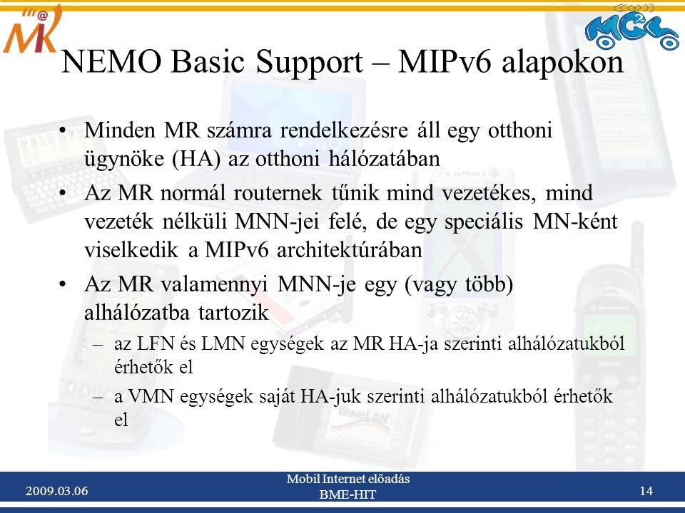2009.03.06 Mobil Internet előadás BME-HIT 14 NEMO Basic Support – MIPv6 alapokon Minden MR számra rendelkezésre áll egy otthoni ügynöke (HA) az otthoni hálózatában Az MR normál routernek tűnik mind vezetékes, mind vezeték nélküli MNN-jei felé, de egy speciális MN-ként viselkedik a MIPv6 architektúrában Az MR valamennyi MNN-je egy (vagy több) alhálózatba tartozik –az LFN és LMN egységek az MR HA-ja szerinti alhálózatukból érhetők el –a VMN egységek saját HA-juk szerinti alhálózatukból érhetők el