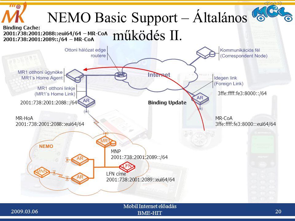 2009.03.06 Mobil Internet előadás BME-HIT 20 NEMO Basic Support – Általános működés II.
