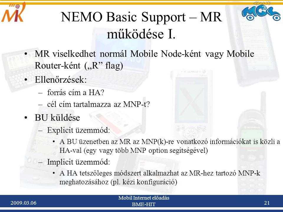 2009.03.06 Mobil Internet előadás BME-HIT 21 NEMO Basic Support – MR működése I.