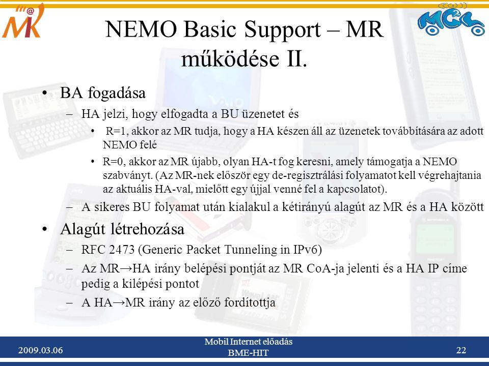 2009.03.06 Mobil Internet előadás BME-HIT 22 NEMO Basic Support – MR működése II.