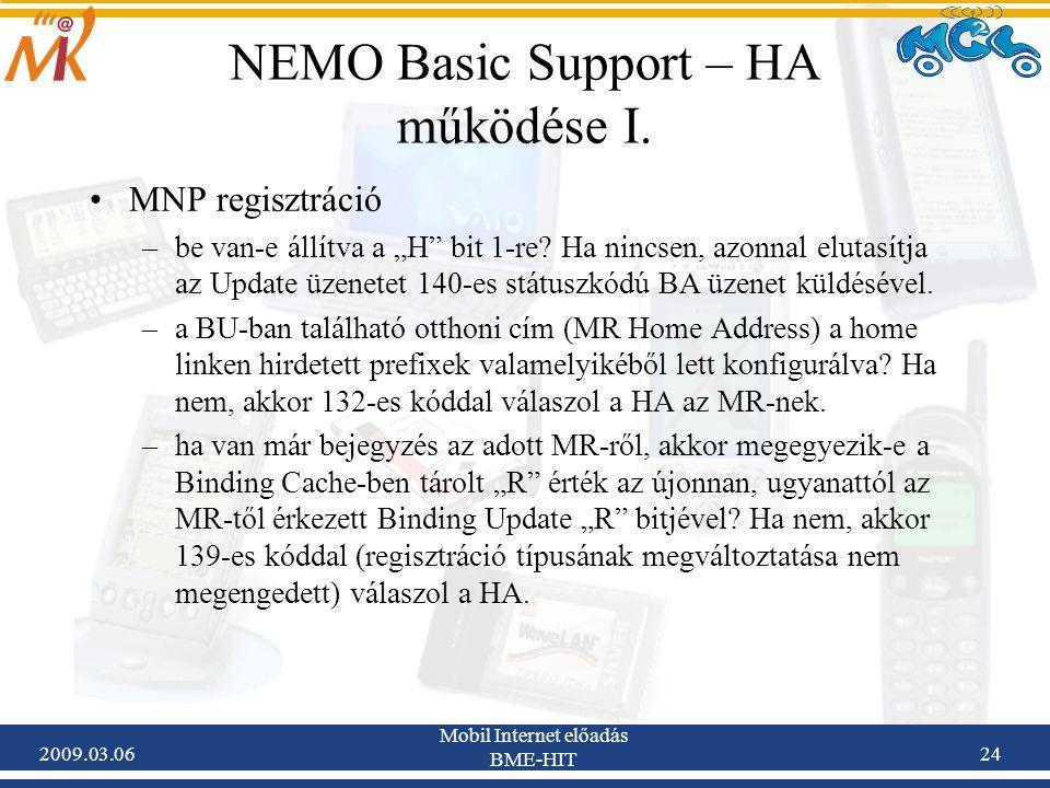 2009.03.06 Mobil Internet előadás BME-HIT 24 NEMO Basic Support – HA működése I.
