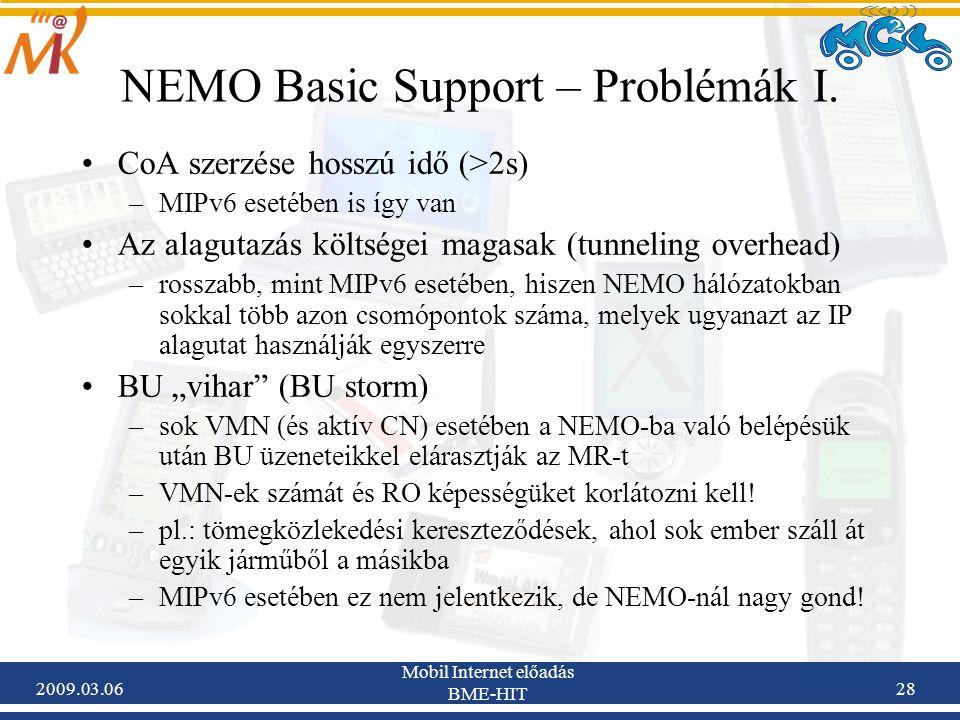 2009.03.06 Mobil Internet előadás BME-HIT 28 NEMO Basic Support – Problémák I.