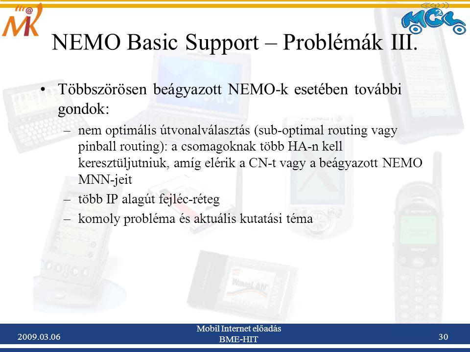 2009.03.06 Mobil Internet előadás BME-HIT 30 NEMO Basic Support – Problémák III.