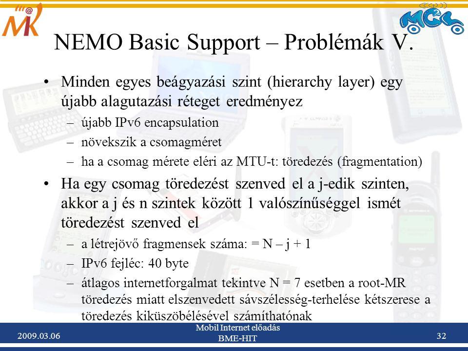 2009.03.06 Mobil Internet előadás BME-HIT 32 NEMO Basic Support – Problémák V.