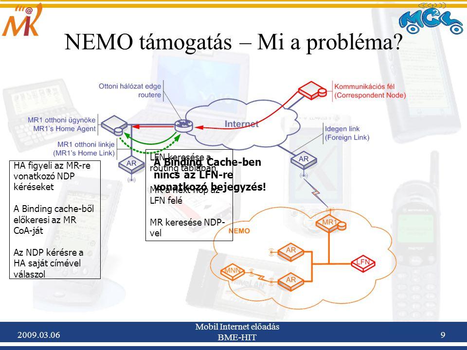 2009.03.06 Mobil Internet előadás BME-HIT 9 LFN keresése a routing táblában MR a next hop az LFN felé MR keresése NDP- vel A Binding Cache-ben nincs az LFN-re vonatkozó bejegyzés.