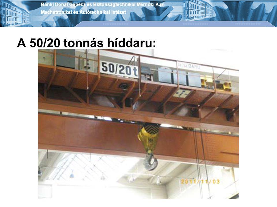 A 50/20 tonnás híddaru: Bánki Donát Gépész és Biztonságtechnikai Mérnöki Kar Mechatronikai és Autótechnikai Intézet