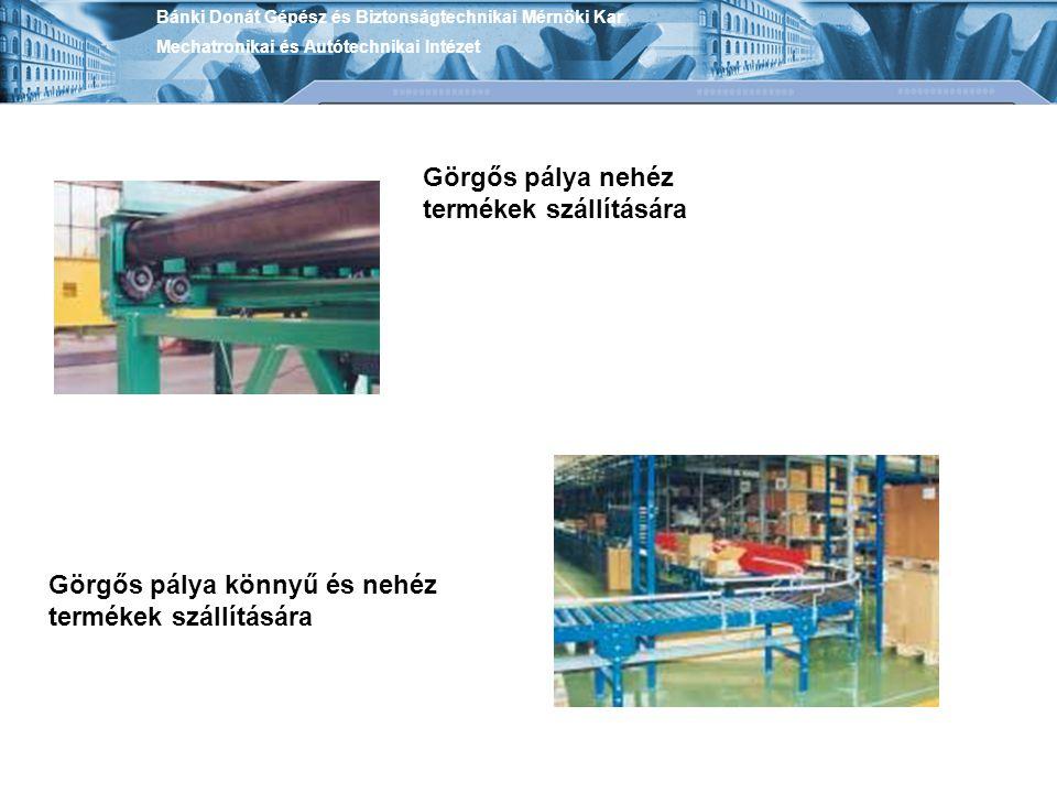 Görgős pálya nehéz termékek szállítására Görgős pálya könnyű és nehéz termékek szállítására Bánki Donát Gépész és Biztonságtechnikai Mérnöki Kar Mecha