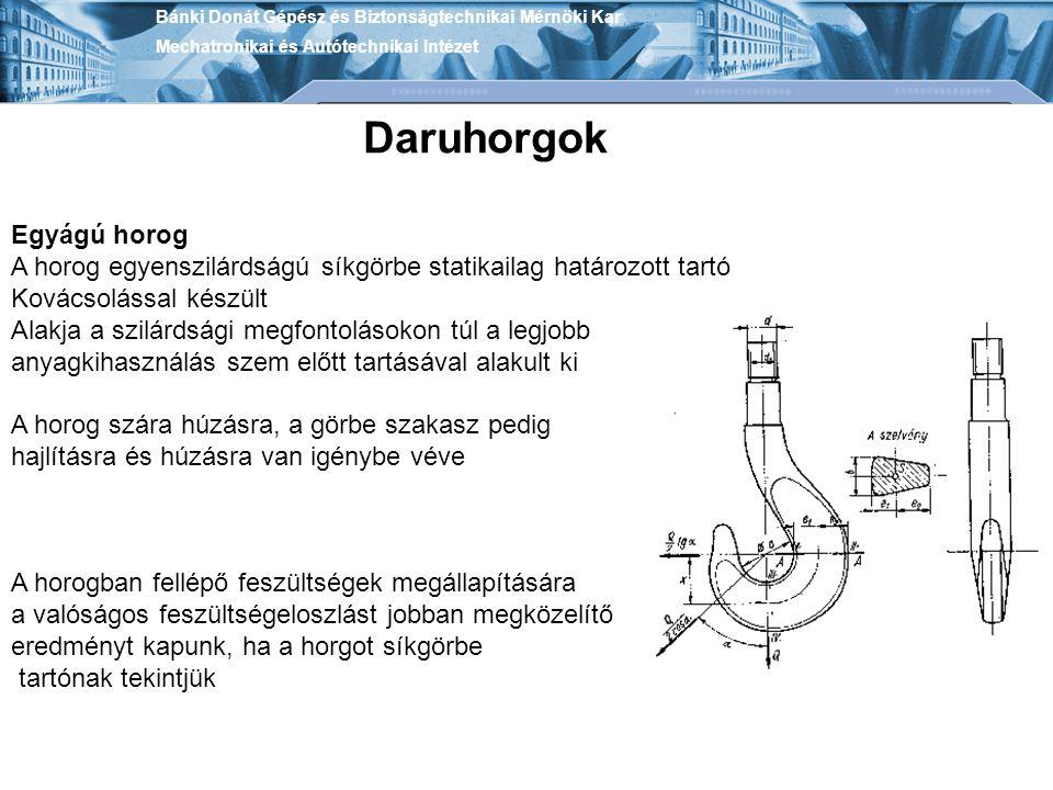 Bánki Donát Gépész és Biztonságtechnikai Mérnöki Kar Mechatronikai és Autótechnikai Intézet Daruhorgok Egyágú horog A horog egyenszilárdságú síkgörbe