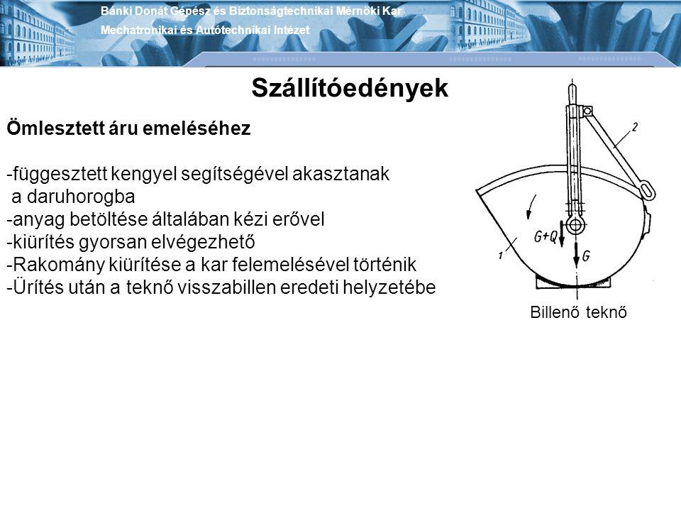 Bánki Donát Gépész és Biztonságtechnikai Mérnöki Kar Mechatronikai és Autótechnikai Intézet Szállítóedények Billenő teknő Ömlesztett áru emeléséhez -f