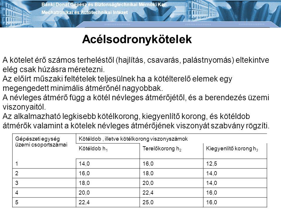 Bánki Donát Gépész és Biztonságtechnikai Mérnöki Kar Mechatronikai és Autótechnikai Intézet Zárt kengyel Nagyon nagy terhek felfüggesztésére használják.