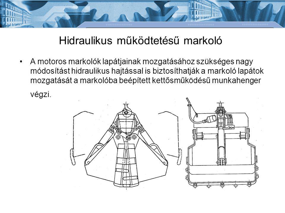 Hidraulikus működtetésű markoló A motoros markolók lapátjainak mozgatásához szükséges nagy módosítást hidraulikus hajtással is biztosíthatják a markol