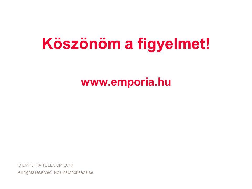 Köszönöm a figyelmet. www.emporia.hu © EMPORIA TELECOM 2010 All rights reserved.