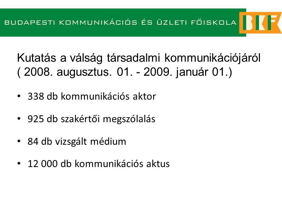 Kutatás a válság társadalmi kommunikációjáról ( 2008. augusztus. 01. - 2009. január 01.) 338 db kommunikációs aktor 925 db szakértői megszólalás 84 db