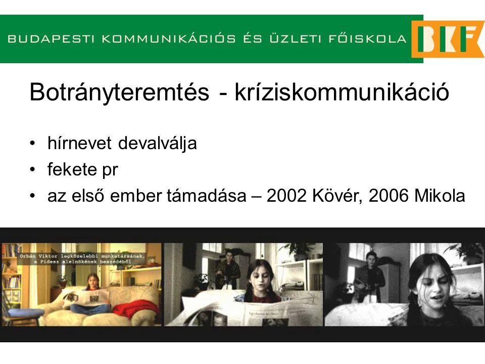 Botrányteremtés - kríziskommunikáció hírnevet devalválja fekete pr az első ember támadása – 2002 Kövér, 2006 Mikola