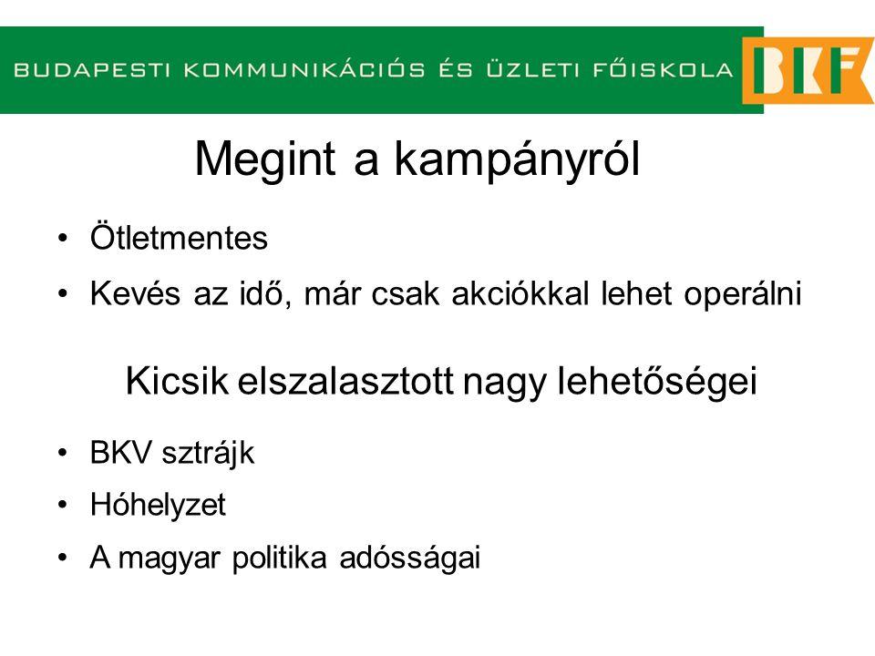 Ötletmentes Kevés az idő, már csak akciókkal lehet operálni Kicsik elszalasztott nagy lehetőségei BKV sztrájk Hóhelyzet A magyar politika adósságai Megint a kampányról