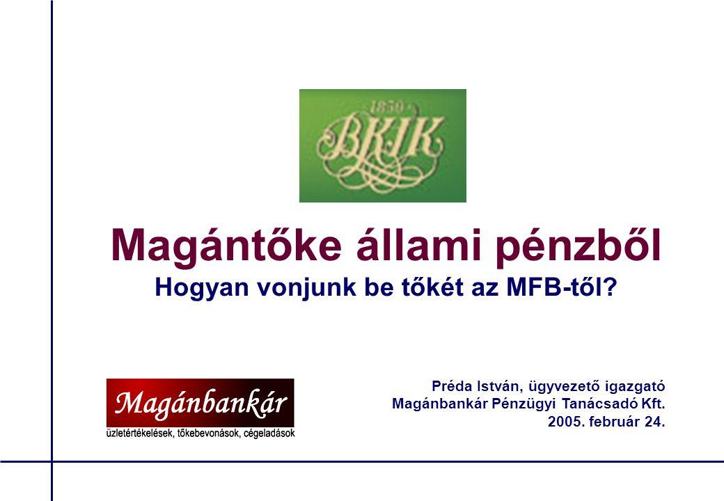 """Budapesti Kereskedelmi és Iparkamara 11 Az MFB tőkejuttatás előnyei/hátrányai ELŐNYÖK  A banki forrásoknál kedvezőbb kamat, 5 év """"türelmi idővel  Csendestárs, nem szól bele a stratégiába  Sikeres tervteljesítés esetén az értéknövekedés megtartható HÁTRÁNYOK  A későbbi bürokratikus ügykezelés veszélye  Banki nem befektetői gondolkodásmód  Megnehezítheti egy kockázati tőkebefektető későbbi bevonását"""