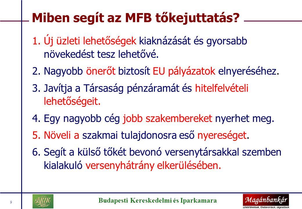 Budapesti Kereskedelmi és Iparkamara 9 Miben segít az MFB tőkejuttatás? 1.Új üzleti lehetőségek kiaknázását és gyorsabb növekedést tesz lehetővé. 2.Na