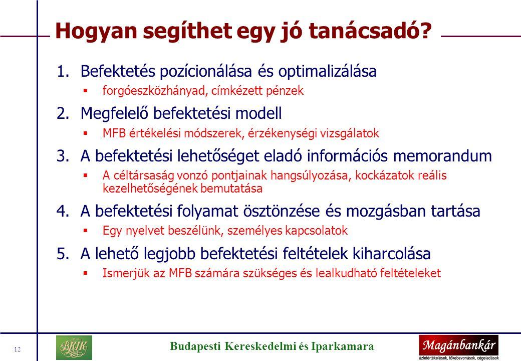 Budapesti Kereskedelmi és Iparkamara 12 Hogyan segíthet egy jó tanácsadó? 1.Befektetés pozícionálása és optimalizálása  forgóeszközhányad, címkézett