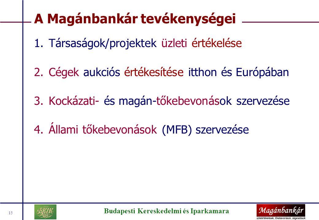 Budapesti Kereskedelmi és Iparkamara 15 A Magánbankár tevékenységei 1.Társaságok/projektek üzleti értékelése 2.Cégek aukciós értékesítése itthon és Eu