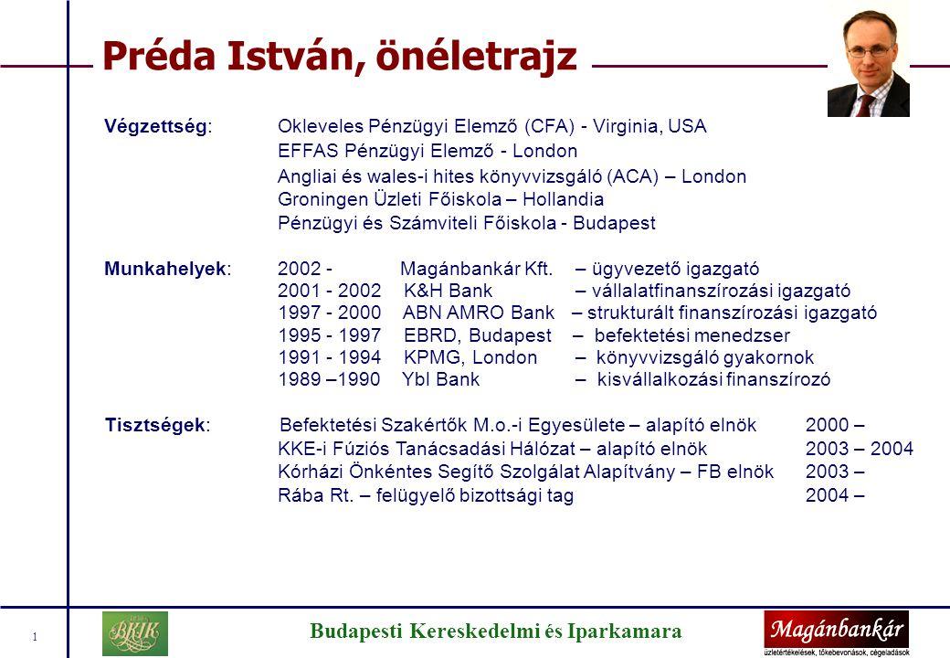 Budapesti Kereskedelmi és Iparkamara 1 Préda István, önéletrajz Végzettség:Okleveles Pénzügyi Elemző (CFA) - Virginia, USA EFFAS Pénzügyi Elemző - Lon