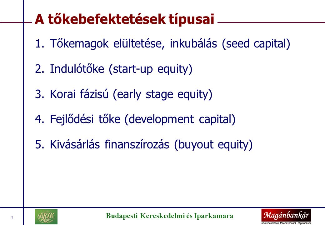 Budapesti Kereskedelmi és Iparkamara 5 A tőkebefektetések típusai 1.Tőkemagok elültetése, inkubálás (seed capital) 2.Indulótőke (start-up equity) 3.Ko