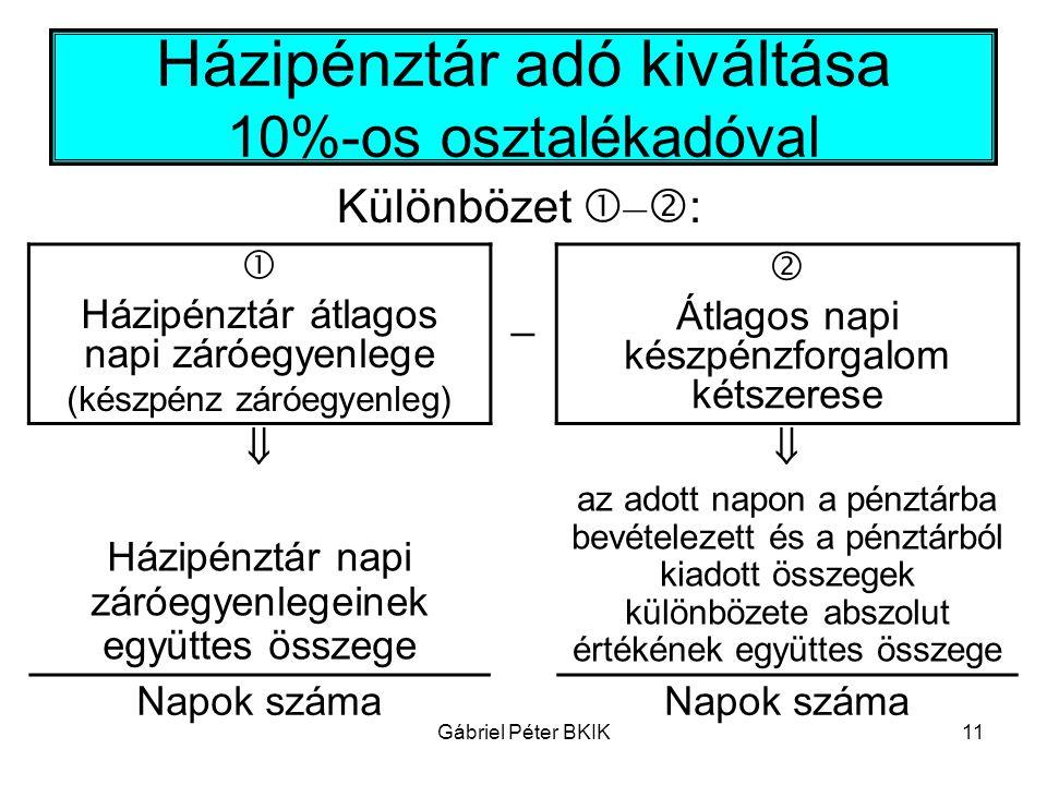 Gábriel Péter BKIK11 Házipénztár adó kiváltása 10%-os osztalékadóval Különbözet  –  :  Házipénztár átlagos napi záróegyenlege (készpénz záróegyenle