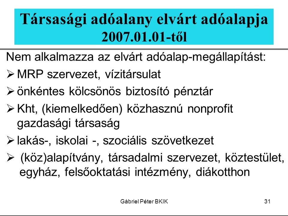Gábriel Péter BKIK31 Társasági adóalany elvárt adóalapja 2007.01.01-től Nem alkalmazza az elvárt adóalap-megállapítást:  MRP szervezet, vízitársulat