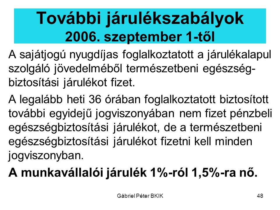 Gábriel Péter BKIK48 További járulékszabályok 2006. szeptember 1-től A sajátjogú nyugdíjas foglalkoztatott a járulékalapul szolgáló jövedelméből termé