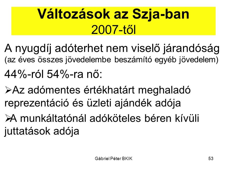 Gábriel Péter BKIK53 Változások az Szja-ban 2007-től A nyugdíj adóterhet nem viselő járandóság (az éves összes jövedelembe beszámító egyéb jövedelem)