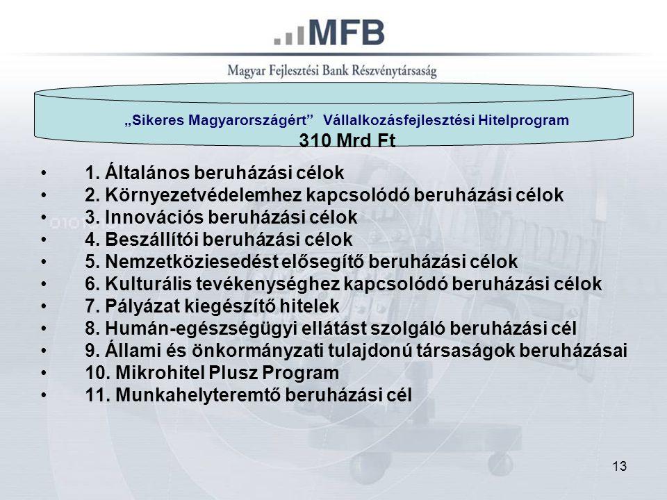 """13 """"Sikeres Magyarországért Vállalkozásfejlesztési Hitelprogram 310 Mrd Ft 1."""